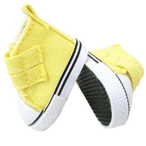 Обувь для куклы. Кеды на липучке Лимонный желтый