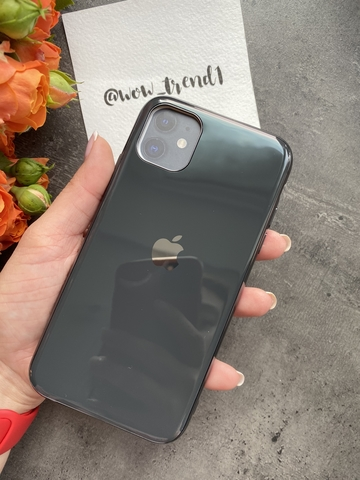 Чехол Iphone 11 Glass Silicone Case Logo /black/