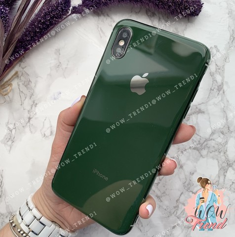 Чехол iPhone X/XS Glass Silicone Case Logo /green/