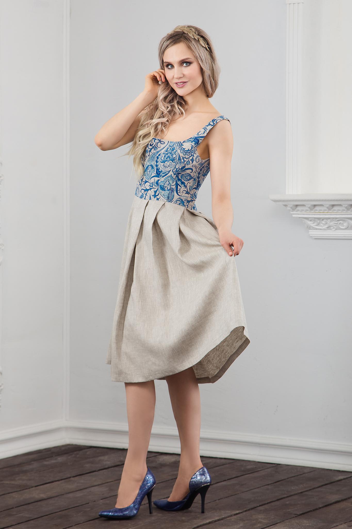 Вид сбоку Платье Иванка с гжелью