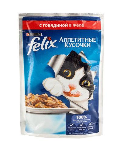 Felix кусочки в желе для кошек с говядиной 85 г