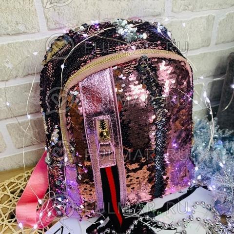 Рюкзак розовый с пайетками меняющий цвет Розовый-Серебристый с молнией LOLA маленький