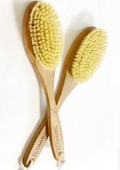 Щетка натуральная массажная с ручкой щетина мексиканского кактуса редко набитая ( лимфодренажная щетка) ECOмикс