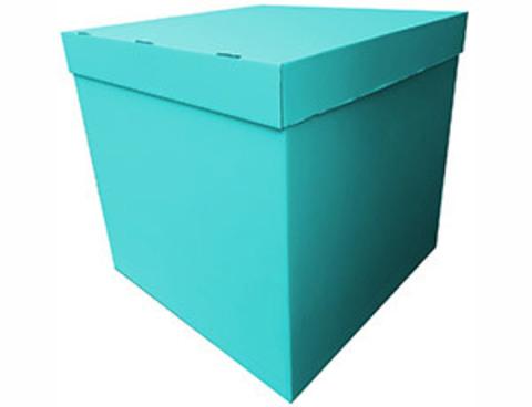 Коробка для шаров с персональным оформлением бирюзовая