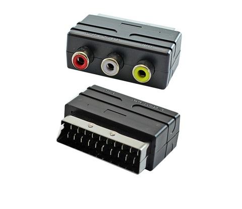 Переходник для подключения к телевизору кабелем RCA (тюльпаны) в разъем Скарт