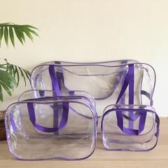Прозрачная сумка в роддом с 2 косметичками, фиолетовая, вид 2
