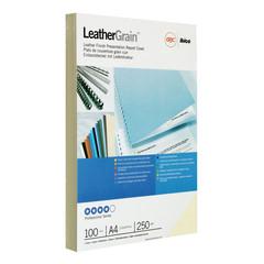 Обложки для переплета картонные GBC А4 250 г/кв.м цвета слоновой кости текстура кожа (100 штук в упаковке)