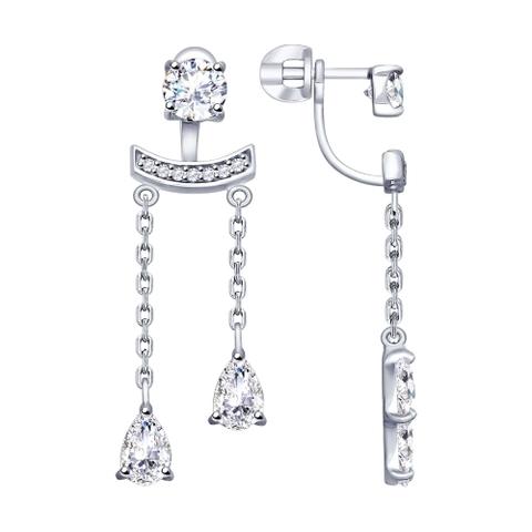 94022738 -Серьги - джекеты  из серебра с фианитами
