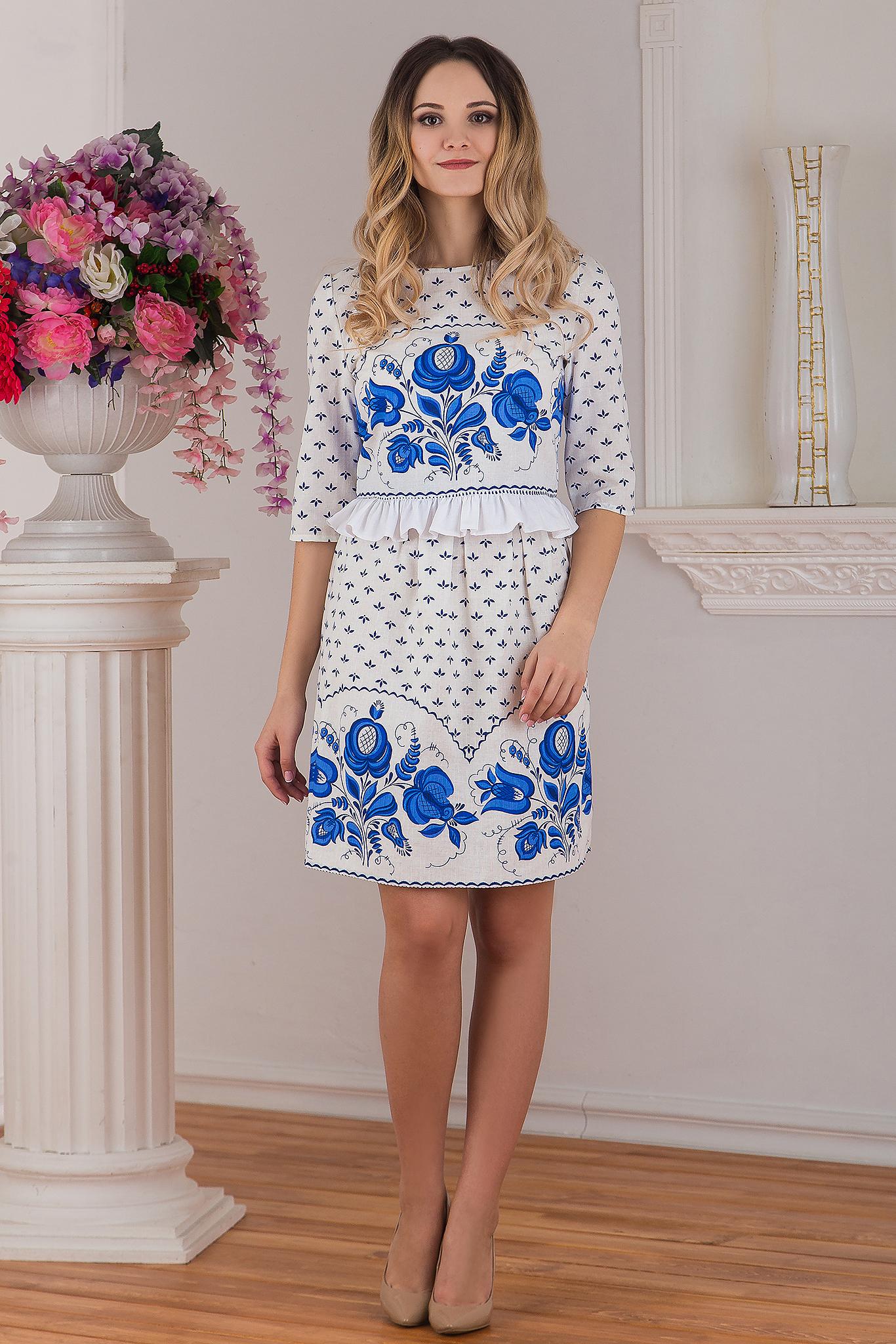 Комплект юбка и блуза с орнаментом Гжель