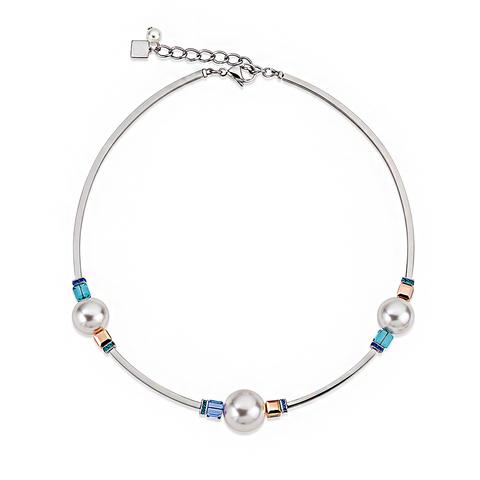 Колье Coeur de Lion 4803/10-0700 цвет белый, голубой