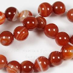 Бусина Агат Полосатый (тониров., категория A), шарик, цвет - красный, 8 мм, нить