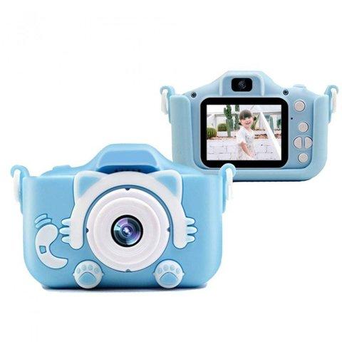 Детский фотоаппарат котик голубой KC650