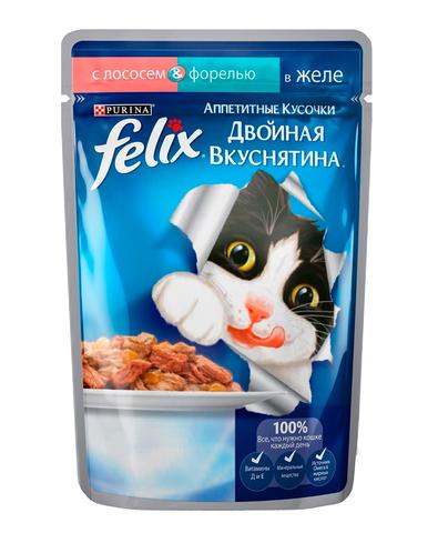 Felix кусочки в желе для кошек с лососем и форелью 85 г