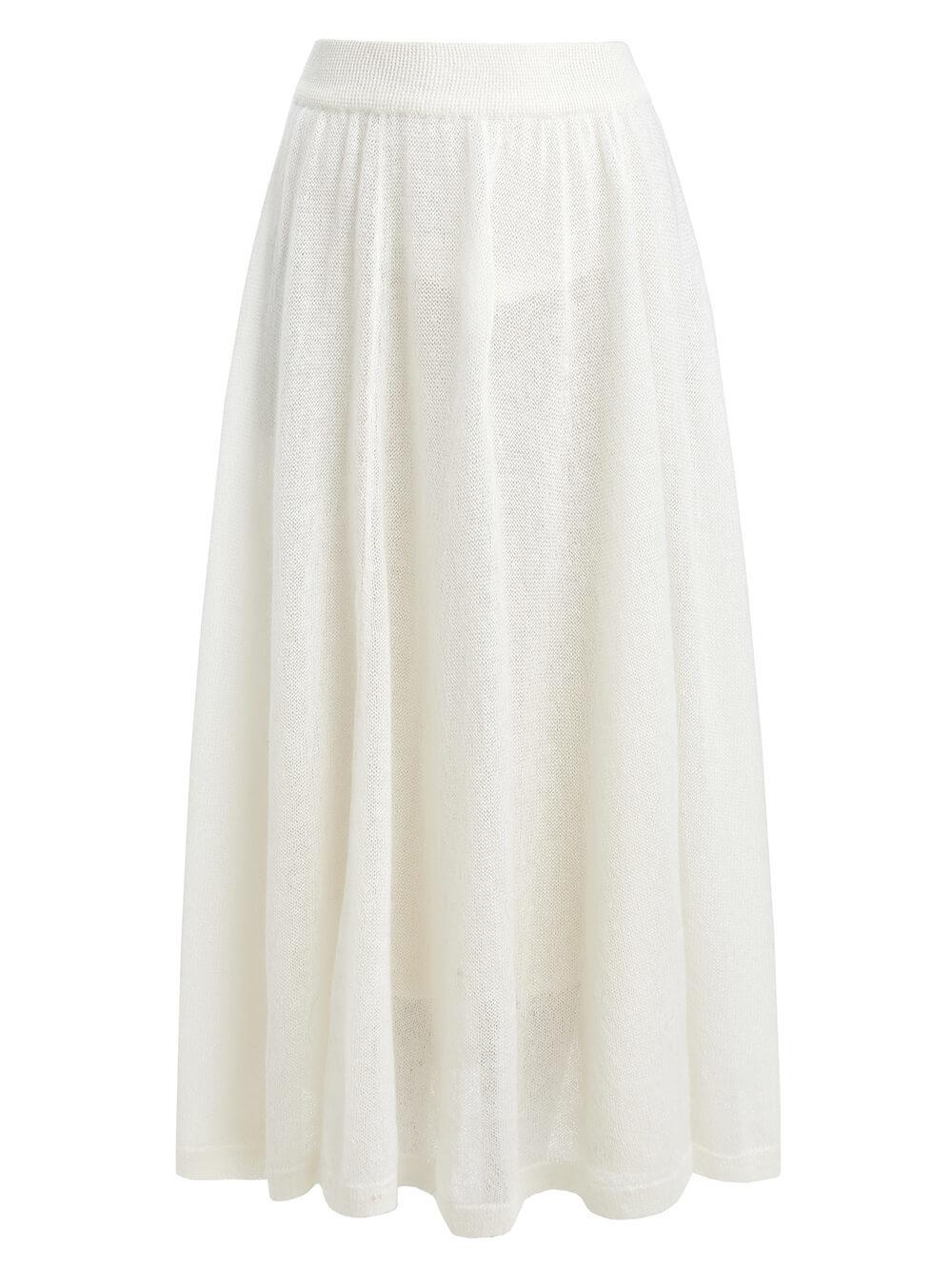 Женская юбка белого цвета - фото 1