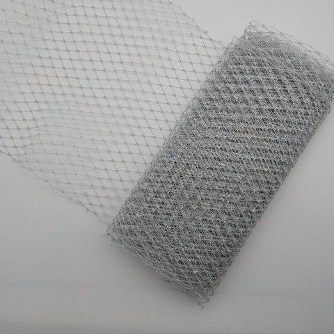 Вуаль шляпная 23 см., серебро