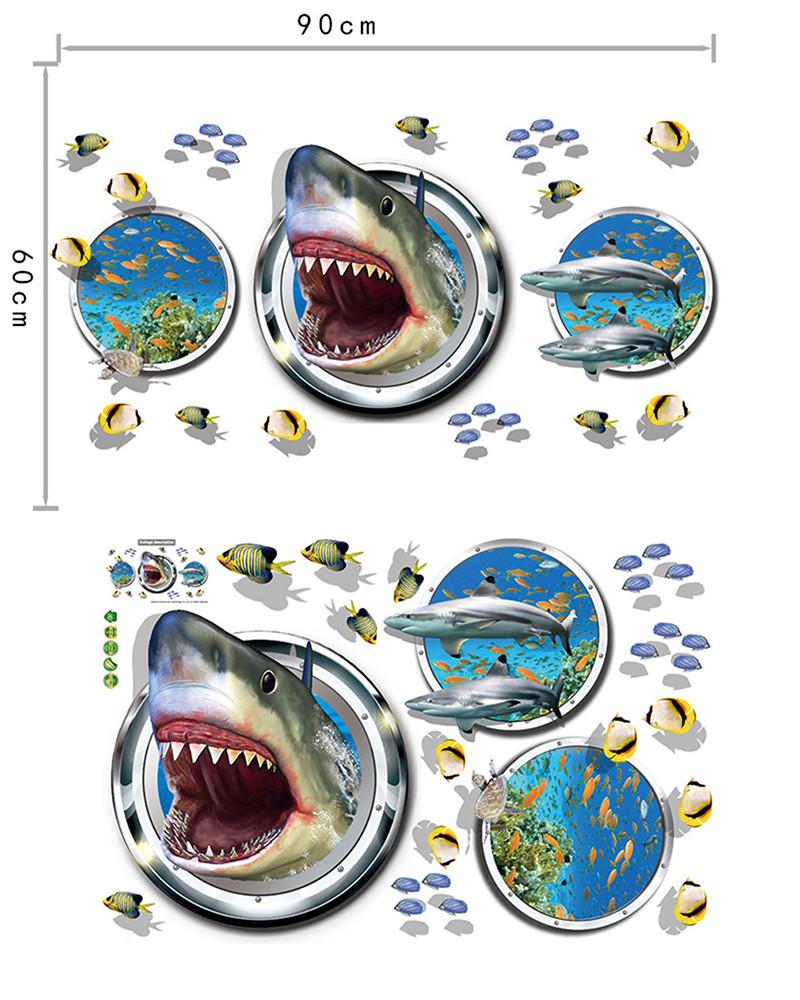 Акула 3D наклейка Иллюминатор