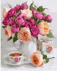 Картина раскраска по номерам 40x50 Нежный натюрморт с пионами и чашкой чая