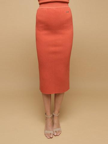 Женская юбка терракотового цвета из шерсти - фото 3
