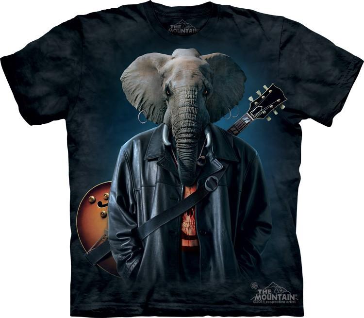 Футболка Mountain с изображением слона-музыканта - Rocker Cooper