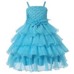 RICHIE HOUSE Платье с многоярусной юбкой голубое ДП41