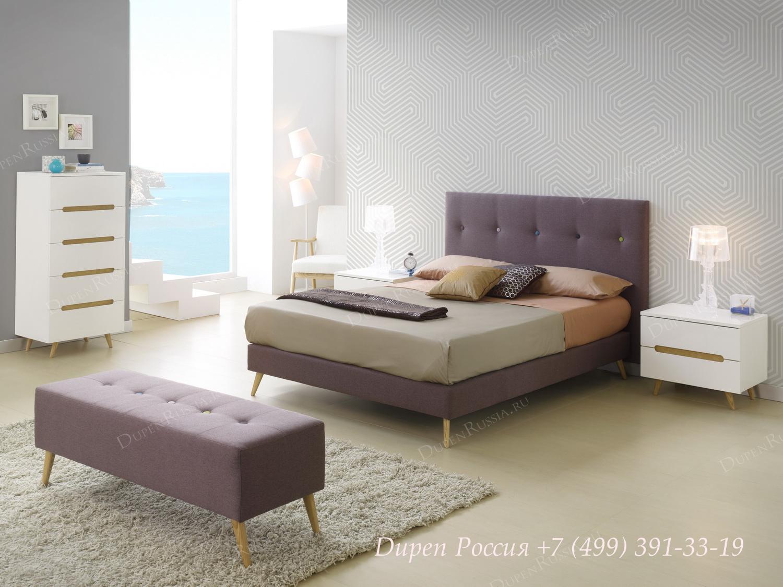 Кровать 891 LENA, комод DUPEN S-125 белый, тумбочка DUPEN M-125 белая