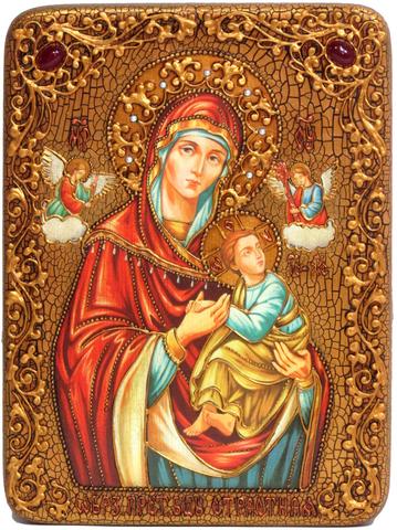 Инкрустированная икона Божией Матери «Страстная» 29х21см на натуральном дереве в подарочной коробке