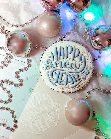 Трафарет Happy New Year леттеринг для пряника, мастики, печенья