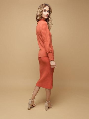 Женская юбка терракотового цвета из шерсти - фото 4