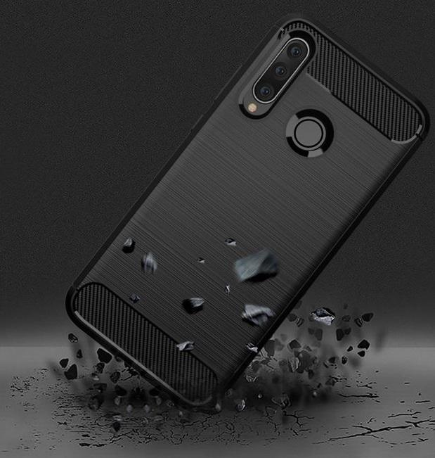 Чехол Huawei P30 Lite (Nova 4E) цвет Black (черный), серия Carbon, Caseport