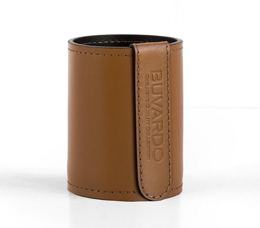 Стакан Н12 кожа Cuoietto (Италия) цвет табак/шоколад.