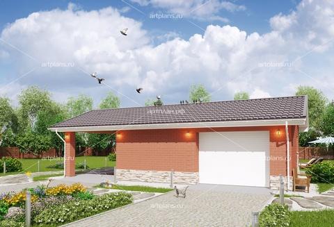 Проект гаража с мастерской и навесом
