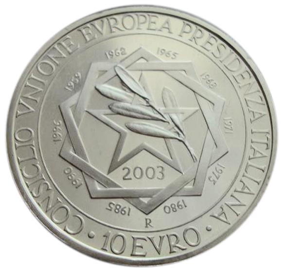 10 евро. Президентство Италии Евросоюз. 2003 г. Серебро