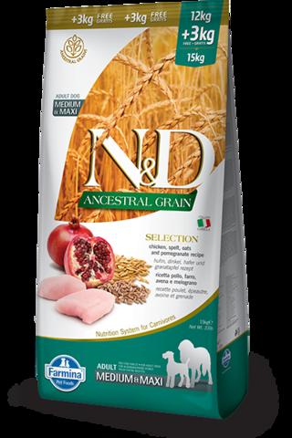 Farmina N&D Ancestral Grain низкозерновой корм для собак крупных и средних пород курица с гранатом 12+3 кг