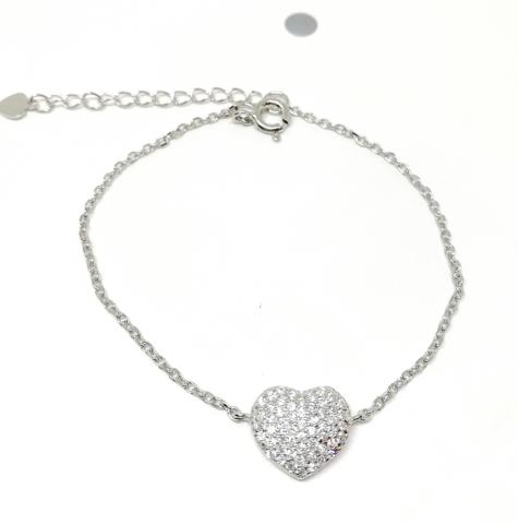 Браслет из серебра с сердечком в цирконах