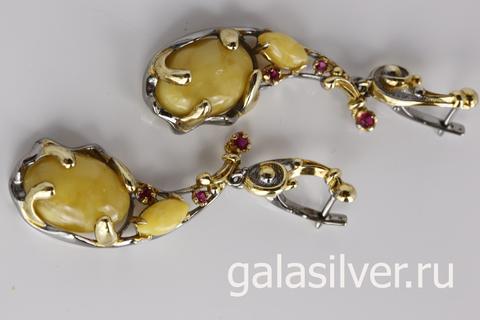 Серьги с янтарем и фианитом из серебра 925