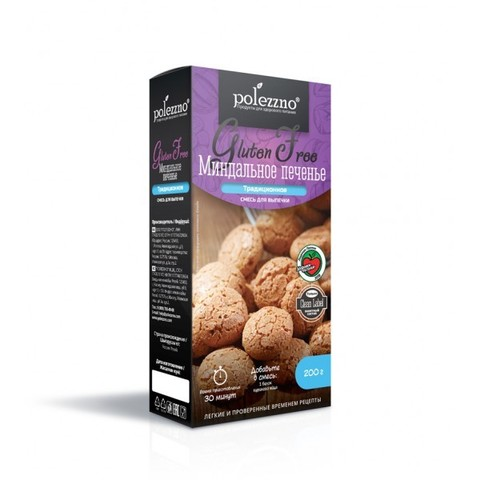 Смесь для выпечки «Миндальное печенье» без глютена Polezzno, 200г