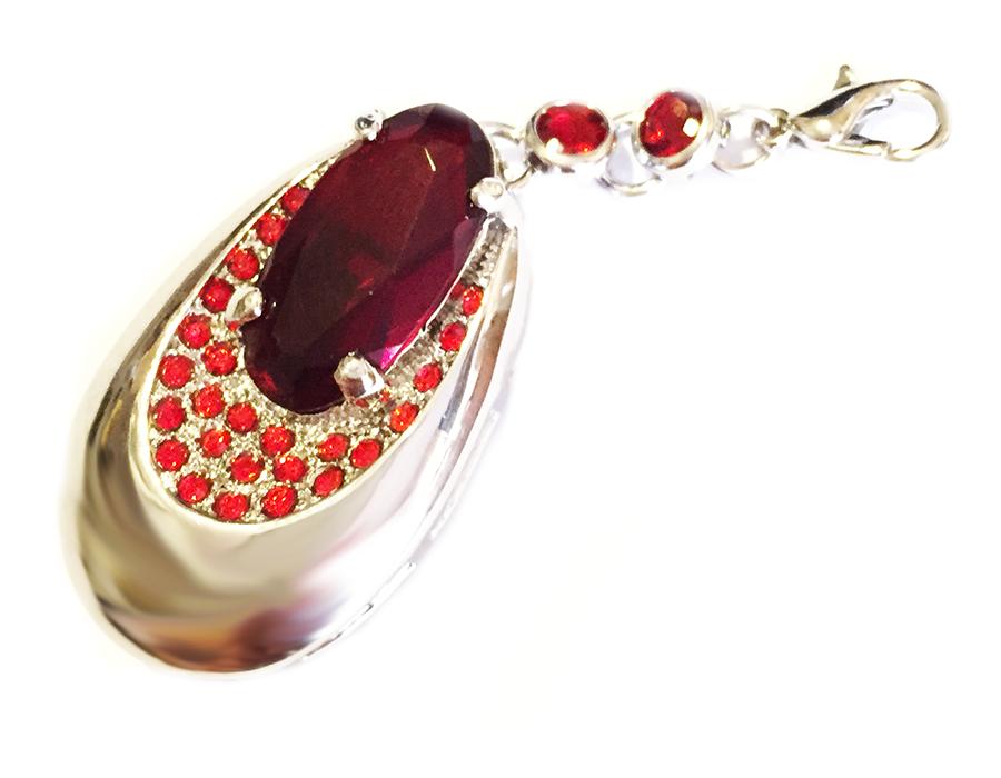 usb-флешка кулон серебро красный рубин оптом