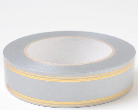 Лента с золотой полосой (размер: 2 см х 50 ярдов) Цвет: серебряный