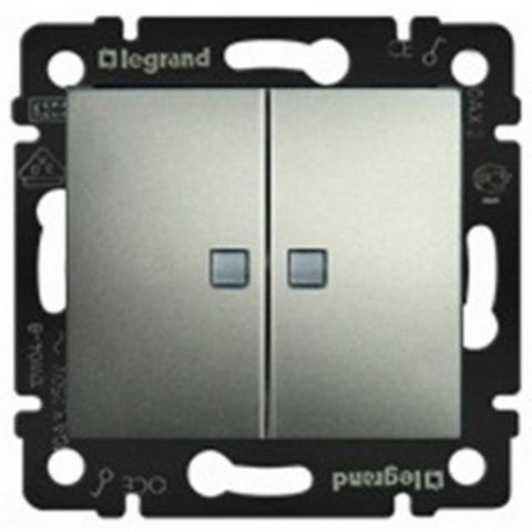 Выключатель двухклавишный с подсветкой - 10 AX - 250 В~. Цвет Алюминий. Legrand Valena Classic (Легранд Валена Классик). 770128