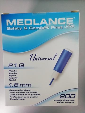 7644 Ланцет автоматический Medlance plus Universal 1,8 мм 21G, для капиллярного забора крови, 200 штук, голубые /HTL-STREFA S.A., Польша/