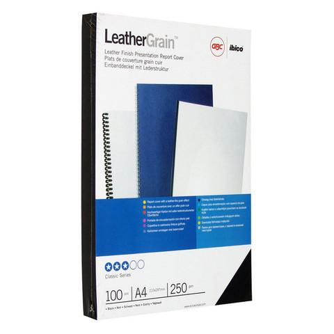 Обложки для переплета картонные GBC А4 250 г/кв.м черные текстура кожа (100 штук в упаковке)
