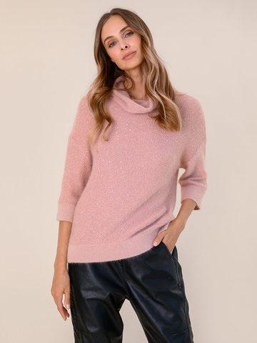 Женский свитер бежево-розового цвета из ангоры - фото 2