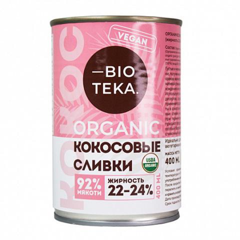 Bioteka, Органические кокосовые сливки 22-24% жирности, 400мл