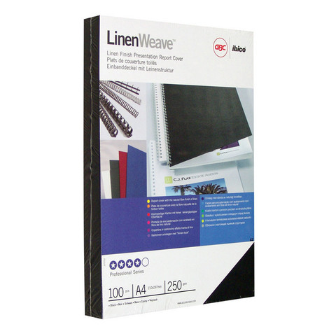 Обложки для переплета картонные GBC А4 250 г/кв.м черные текстура лен (100 штук в упаковке)