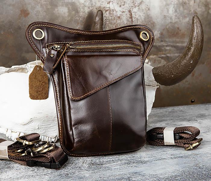 BAG442-2 Набедренная кожаная сумка коричневого цвета