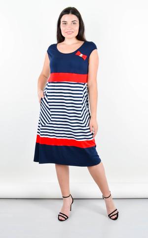 Бант. Повседневное платье больших размеров. Полоса.