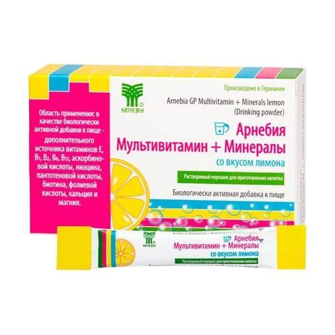 Арнебия Мультивитамин + Минералы со вкусом лимона, 10 пакетиков по 5 гр