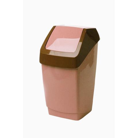 Ведро мусорное 7 л, пластиковое, с крышкой-вертушкой, беж. мрамор