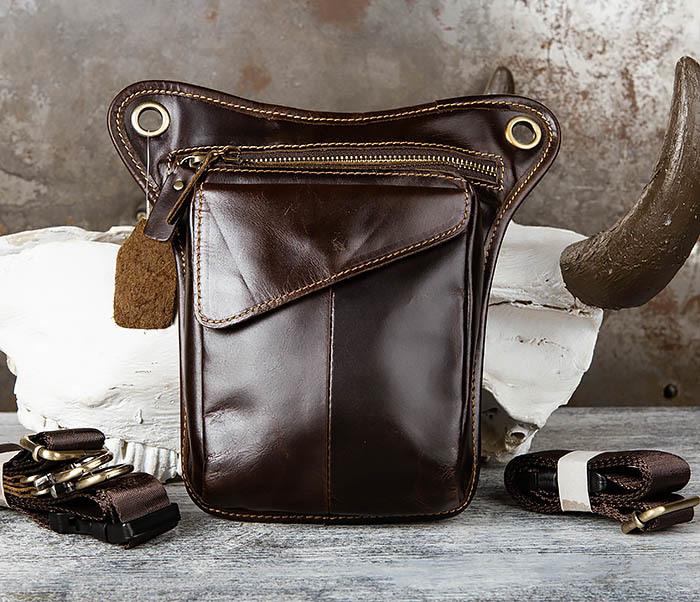 BAG442-2 Набедренная кожаная сумка коричневого цвета фото 02