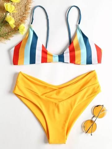 купальник желтый радуга с завышенной талией раздельный